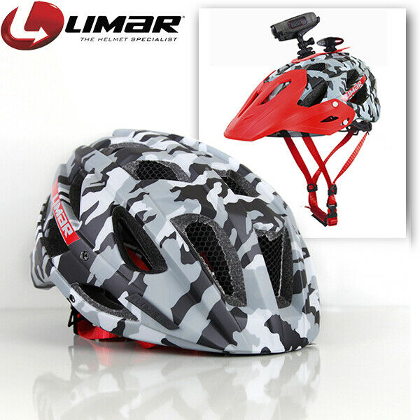Limar 949DR Mountain Bike Helmet with Camera Mount Plate and Visor  Camo rosso