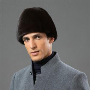 Men Full-pelt Mink Fur Fedora with Earmuffs Luxury Winter Real Fur ... d1bf939e6776