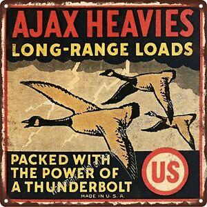 "US AJAX HEAVIES SHOTGUN SHELL 3 HONKERS LIGHTING BOLTS Metal Sign 12x12/"" A172"