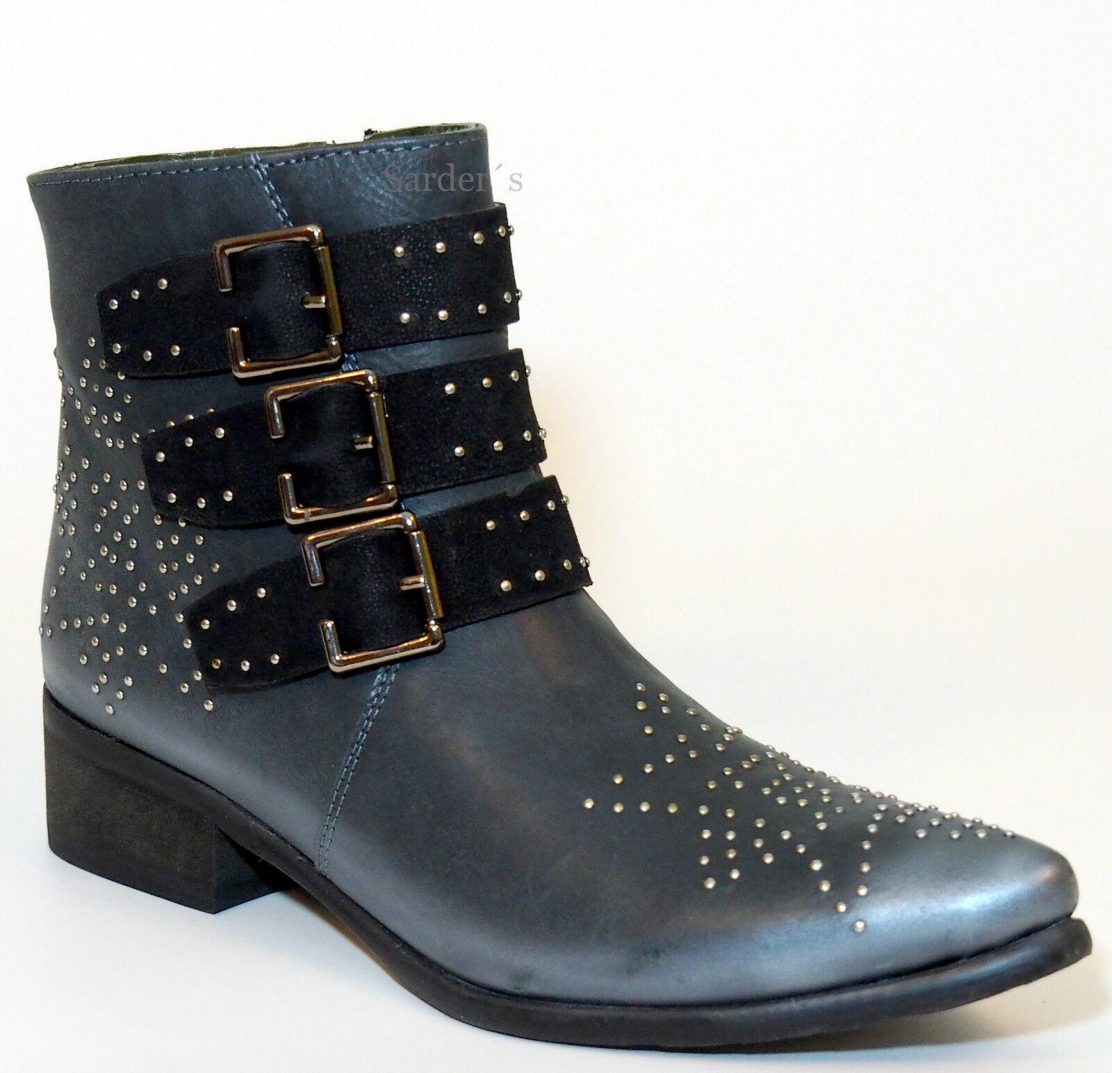 XYXYX Stiefelette 37 Echt- LEDER Schwarz Black Used Vintage Look geile Boots NEU