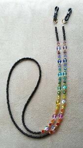 RAINBOW-Swarovski-Crystal-handmade-Eyeglass-Chain-Holder-SILVER-accents
