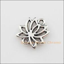 5Pcs Tibetan Silver Tone Lotus Flower Charms Pendants Connectors 14.5x16mm