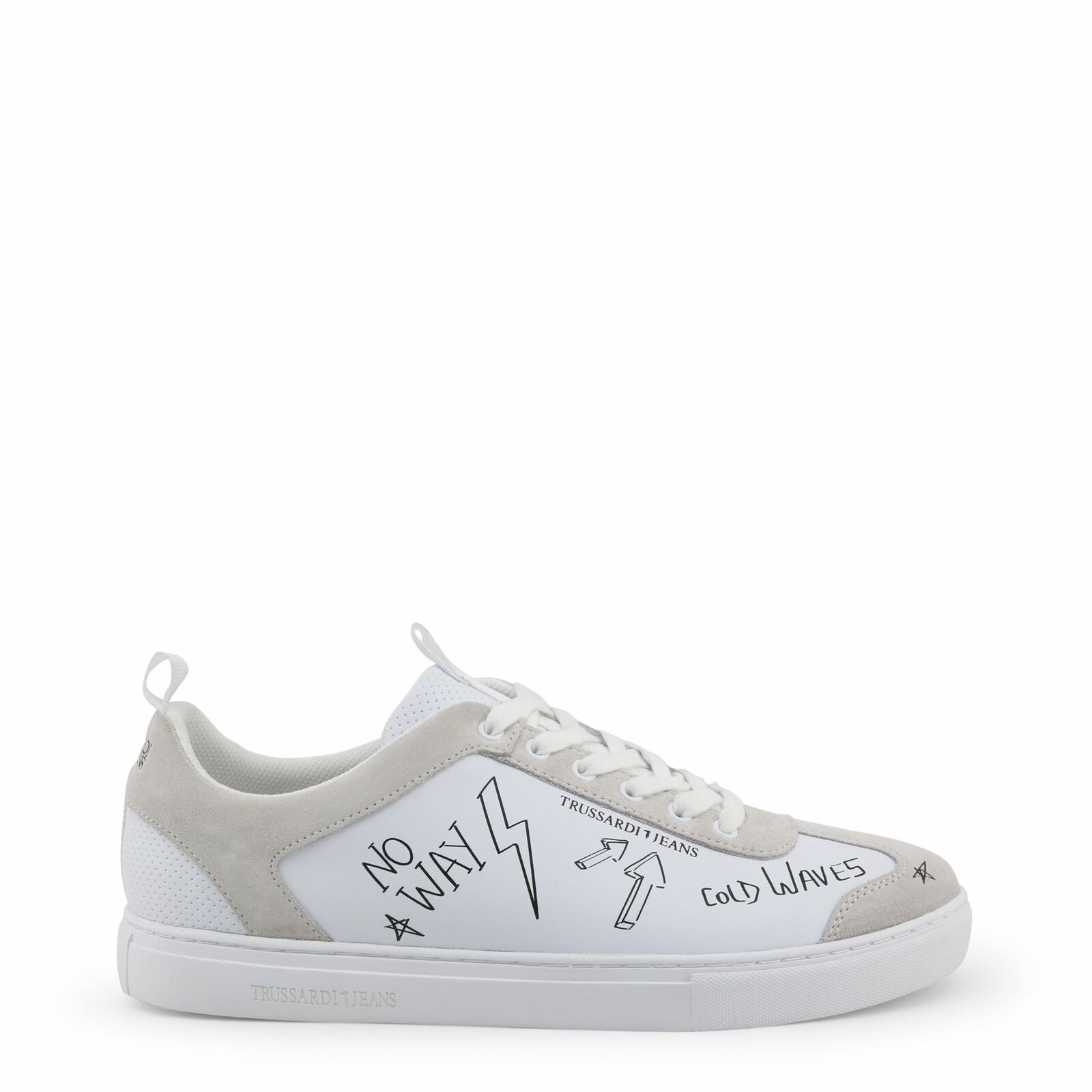 Trussardi Men's White Low-Top Sneakers Lace-Up Classic Court shoes