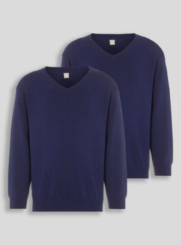 Boys Girls School Uniform V-Neck Jumpers Pull Overs Unisex 2 Pack 100/% Cotton