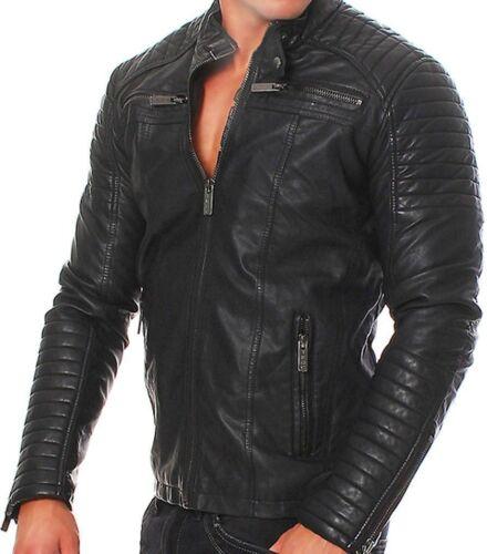 in uomo vera pelle da Giacca uomo da pelle moto in da motociclista nera da Snqaz