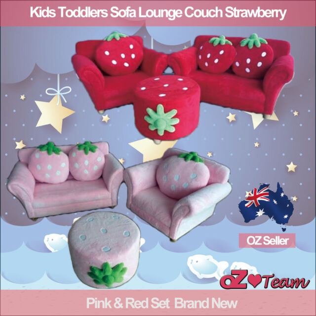 Kids Toddlers Sofa Fabric Couch Strawberry Single+ Double + Stool 3 setting
