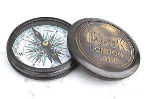 Vintage Nautical Poem Compass LONDON 1914 Victotrian Era Solid Brass Replica