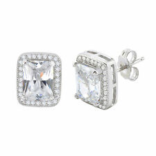 Sterling Silver Rectangle Halo Cubic Zirconia Stud Earrings Micropave 11mm x 9mm