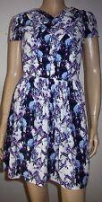 TOP SHOP Multi Colour Floral Print Pleat Short Sleeve Summer Party Dress Size 8