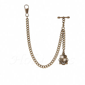 Brand-New-Bronze-Colour-Albert-Pocket-Watch-Fob-Chain-With-Pendant