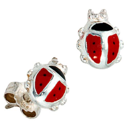 Ohrringe für Kinder rot schwarz lackiert Ohrstecker Marienkäfer aus 925 Silber