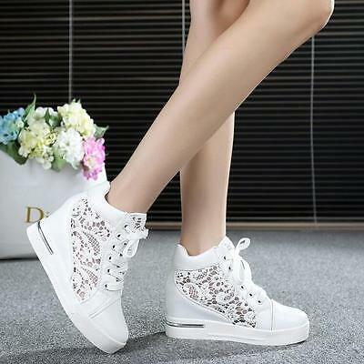 Womens Round Toe Hollow Mesh Platform Wedge Shoes Lace Up High Top Sneakers 39