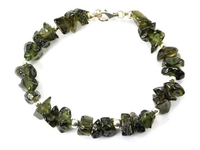 Moldavite bracelet tumbled silver.925 210mm 8.26inch 21.07g OTHER731