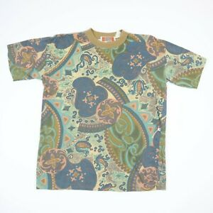 Vtg-90s-Boat-amp-Beach-T-Shirt-All-Over-Paisley-Print-Faded-Single-Stitch-Grunge