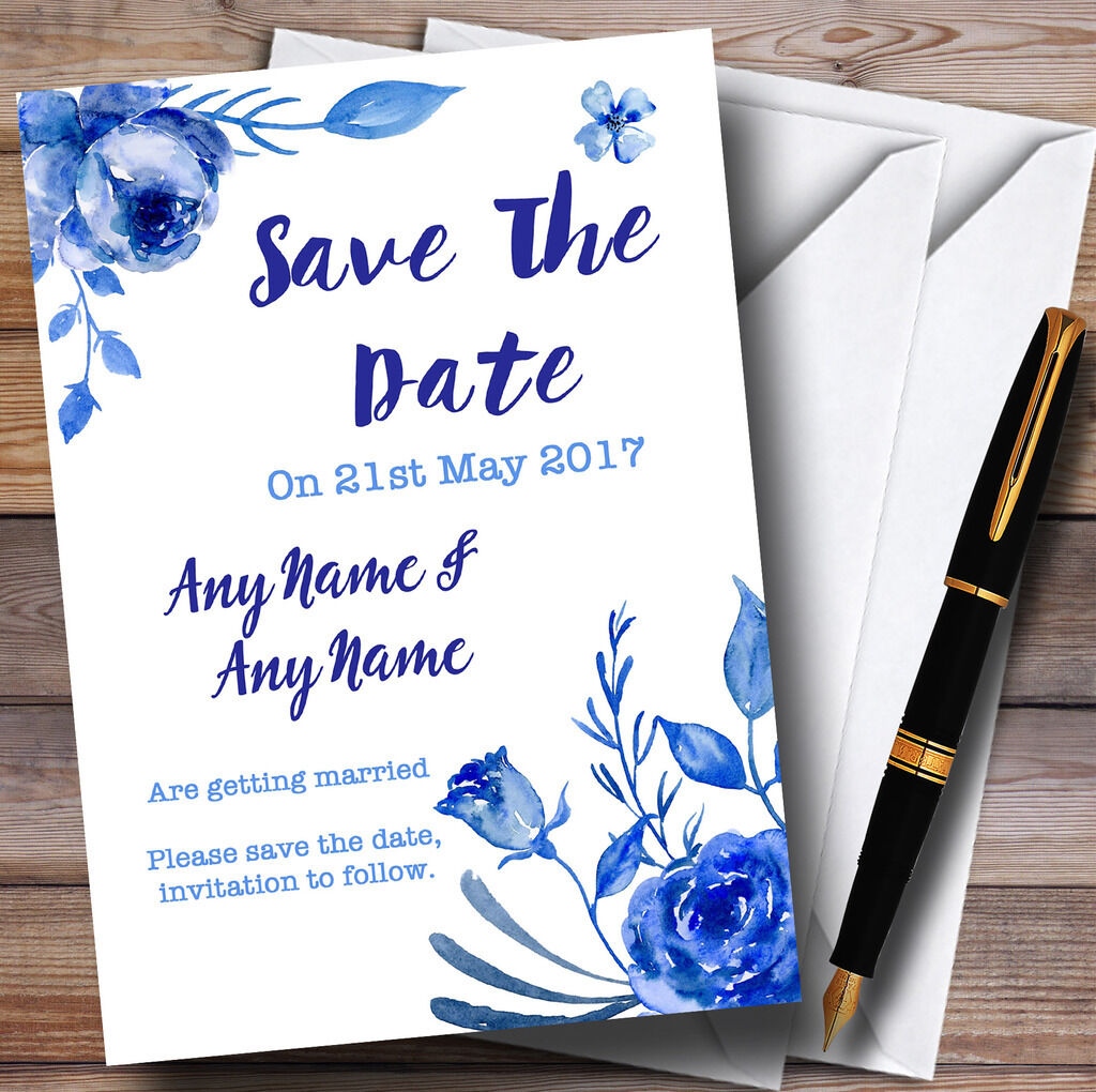 Blau & Weiß Watercolour Floral Personalised Wedding Save The Date Cards