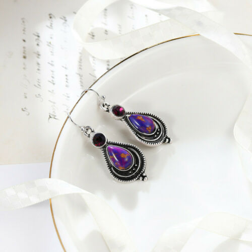 Femmes Jewlery Cadeau Imperial Jasper AMETHYST GEMSTONE SILVER Dangle Crochet Boucles D/'oreilles