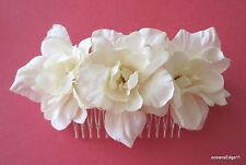 Triple Cream White Apple Blossom Silk Flower Hair Comb,Bridal,Pin Up,Updo,Bun