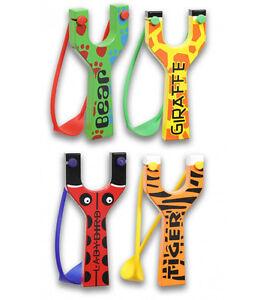 En Bois Slingshot Catapulte Avec Animal Imprimé ours, girafe, tigre, coccinelle NOUVEAU  </span>
