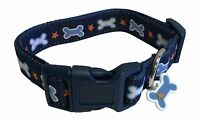 "Top Paw Dog Collar Size LARGE L Neck 18"" - 22"" Bone Charm Stars 05L NEW"