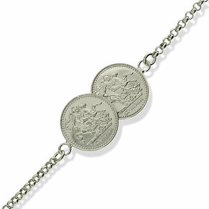 Details about STERLING SILVER SOLID DOUBLE ST GEORGE COIN BELCHER CHAIN  LINK BRACELET GIFT BOX