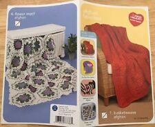 CROCHET pattern 4 AFGHAN FAVORITES blanket RED HEART SUPER SAVER worsted  NEW