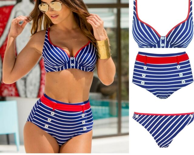 Pour Moi Starboard Tie Side Bikini Brief 68004 Navy Red 8-16 Womens