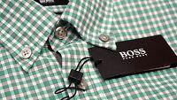 NWT $145 Hugo Boss Slim Fit Green Plaid Shirt Mens Size M L XL Short Sleeve NEW