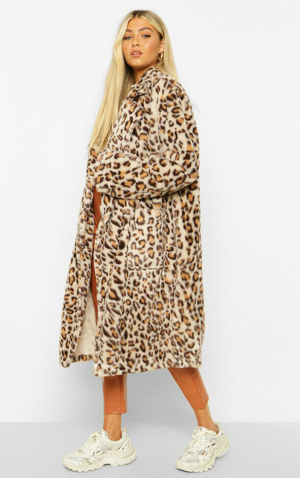 Boohoo Tall Faux Fur Leopard Print Longline Oversized Coat Size 12