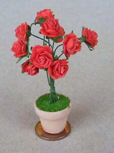 1:12 Scale Red Colour Plant Pot Tumdee Dolls House Miniature Garden Flower S