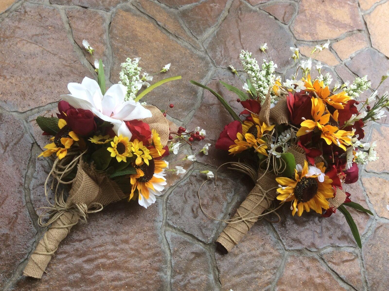 Soie Fleur Mariage Bridal Bouquet Paquet Fleurs Tournesol Vin Bourgogne
