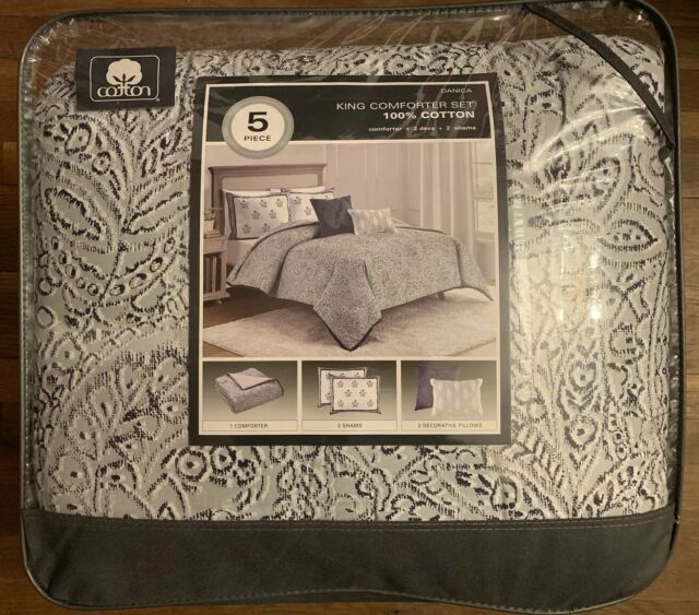 Size:King Blue NEW Danica Paisley 5pc Cotton Comforter Set