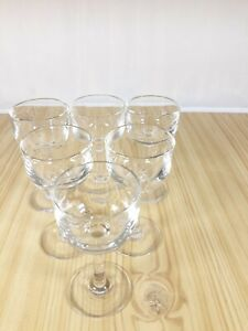 Vintage-Small-Stemmed-Liqueur-Sherry-Shot-Glasses-X6-Dinner-Party-Glasses