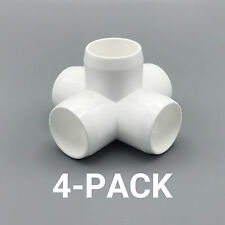 """1"""" inch 5-Way Cross PVC Fitting Connector Elbow - 4-Pack - PB1005W-4P"""