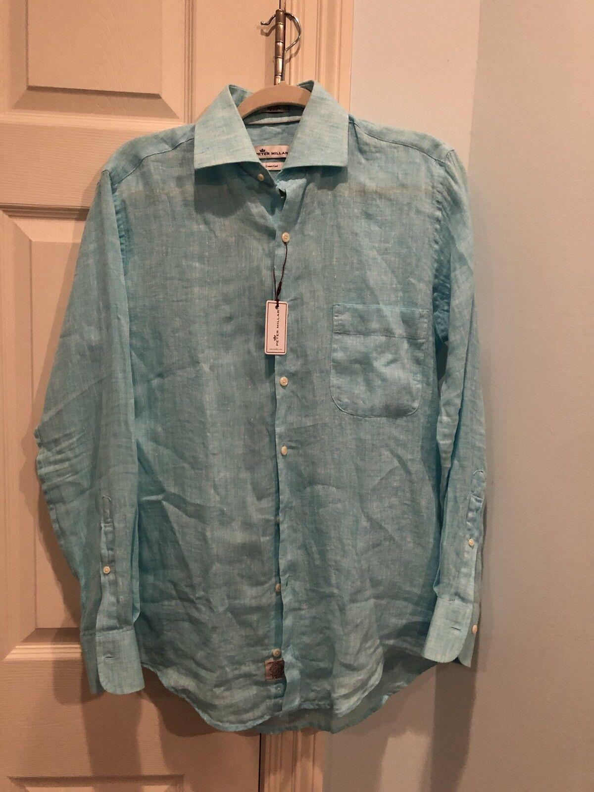 NWT Peter Millar Crown Cool 100% Linen Long Sleeve Shirt  bluee Mist Mens S