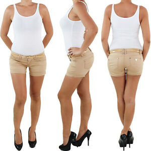 Damen-Hotpants-mit-Guertel-Hot-Pants-Jeans-Shorts-Kurze-Hose-Capri-Hueft-Stretch