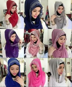 Fashion Muslim Women Hot Drill Caps Islamic Scarf Hijab Arab Shawls Headwear