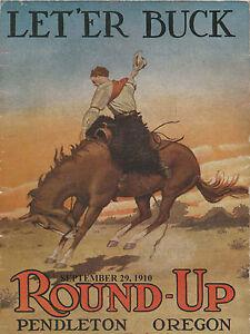 Pendleton-Oregon-Let-039-er-Buck-1910-Rodeo-Print-Poster