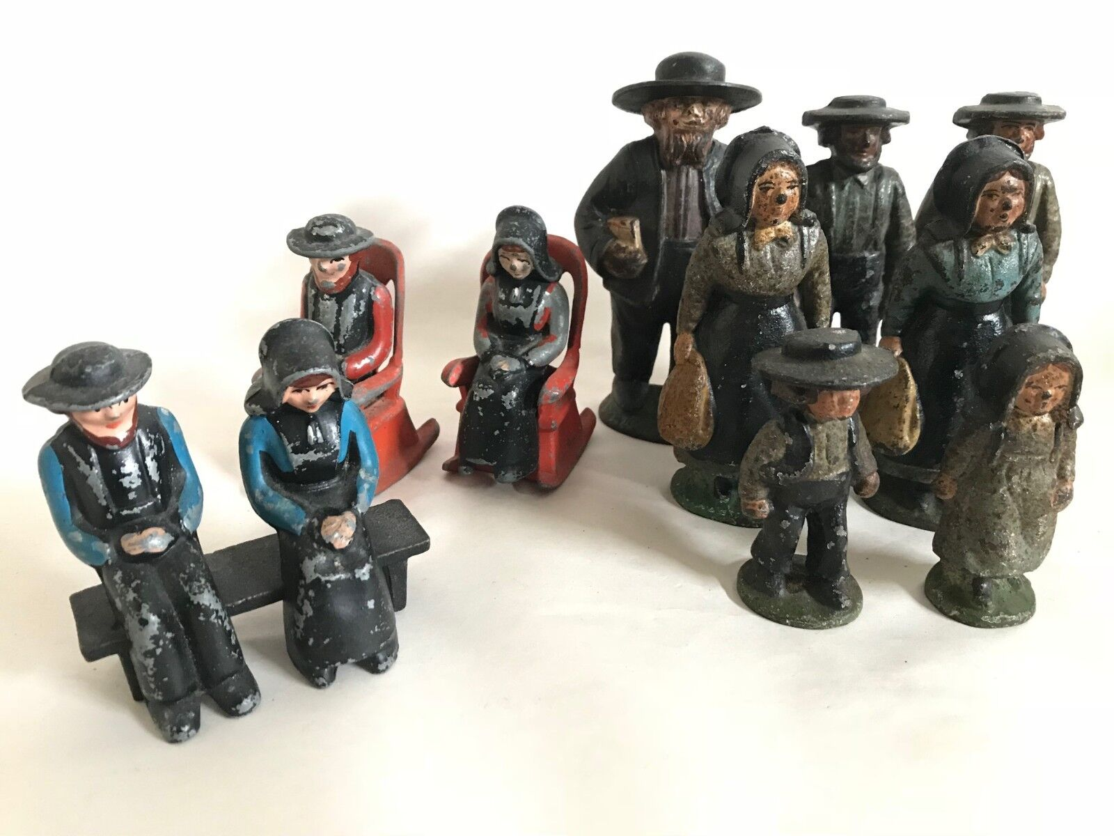 Lot av antika antikviteter John Wright Cast Iron Amish Figures Made in USA