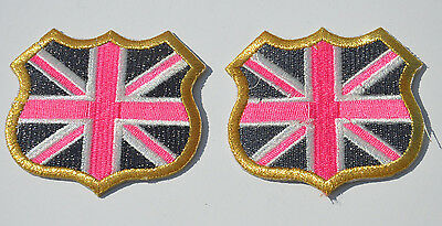 2x GB UNION JACK FLAG Embroidery Sew Iron On Cloth Patch Badge APPLIQUE Fault