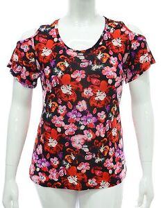 Femmes-Noir-Coupe-Haut-Epaule-Extensible-Rose-rouge-Imprime-Floral-Femmes