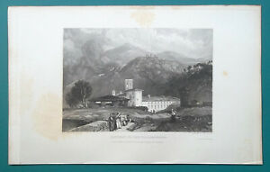 ITALY Convent of Vallambrosa near Florence - 1833 Antique Print Engraving