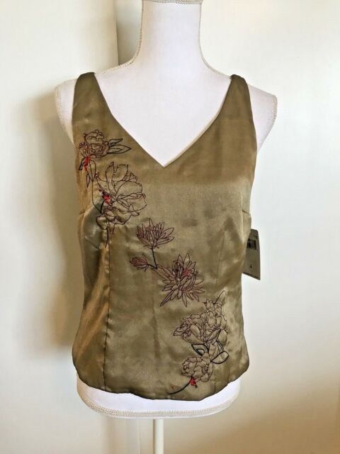 dbce2ea60ccb32 DANA BUCHMAN Tank NWT Size 4  228 Sleeveless Top Tan Embellished Green  Shimmer