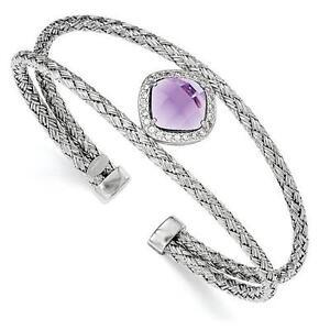 Platinum-Sterling-Silver-White-amp-Purple-Sapphire-Cable-Cuff-Bangle-Bracelet