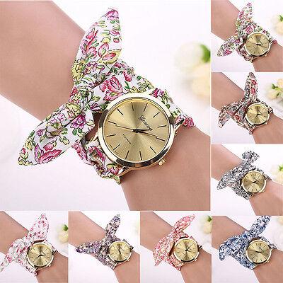 Women Girl Floral Jacquard Cloth Quartz Dial Bracelet Wristwatch Watch Nice