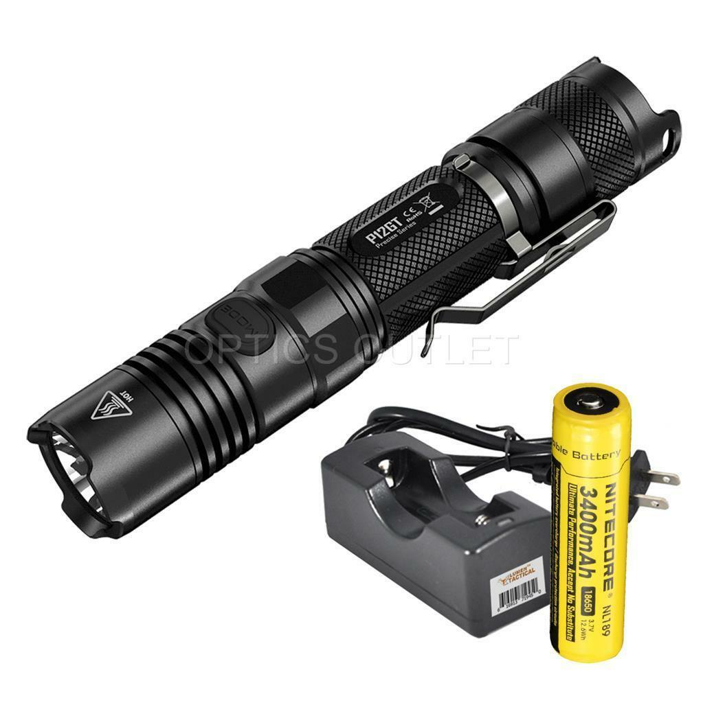 NiteCore P12GT 1000 Lumen LED Flashlight w 1 x 3400 mAh 18650 Battery, Charger