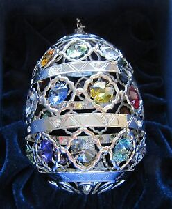 Ornament-Egg-Oval-Austrian-Crystals-24k-silver-plated-multi-color-sparkly
