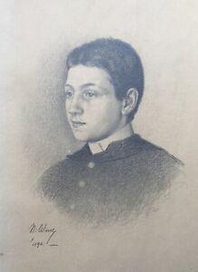 Niels-Wiwel-1855-1914-Zeichnung-Portraet-eines-jungen-Mannes-1892