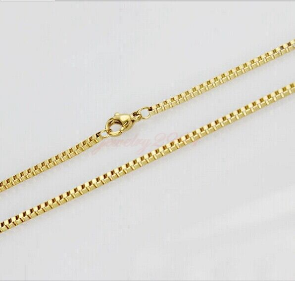 """fashion women's jewelry yellow gold stainless steel 2mm box chain necklace 23.5"""""""