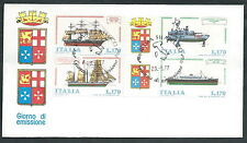 1977 ITALIA FDC POSTE ITALIANE NAVI BLOCCO NO TIMBRO ARRIVO - EDG11