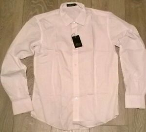2-X-Para-Hombre-Blanco-Manga-Larga-Camiseta-de-trabajo-de-oficina-Puno-Doble-nuevo-tamano-pequeno-o